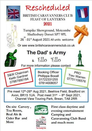 2021 BCC Feast Of Lanterns. All units are invited to the BCC 2021 Feast Of Lanterns at TURNPIKE SHOWGROUND MOTCOMBE , DORSET. SP7 9PL       26th-31st August 2021